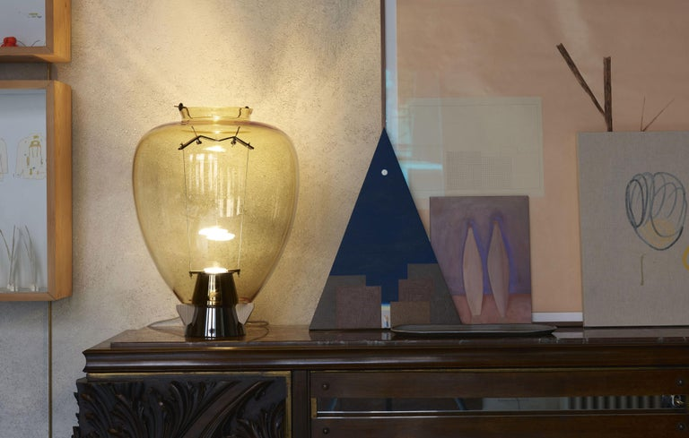 Veronese 6536 Table Lamp in Glass & Brass, by Umberto Riva from Barovier&Toso For Sale 1