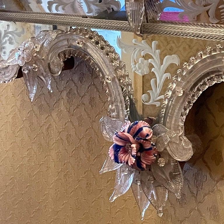 Modern Veronese Murano Glass Mirror For Sale