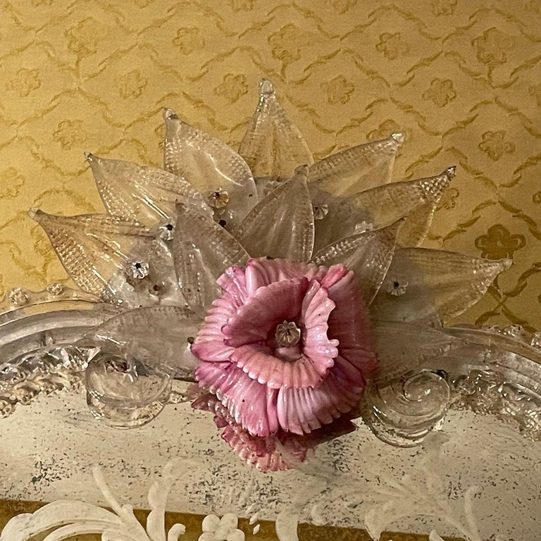 Italian Veronese Murano Glass Mirror For Sale