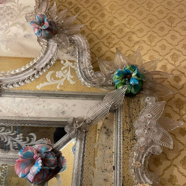 Veronese Murano Glass Mirror In New Condition For Sale In Milan, IT