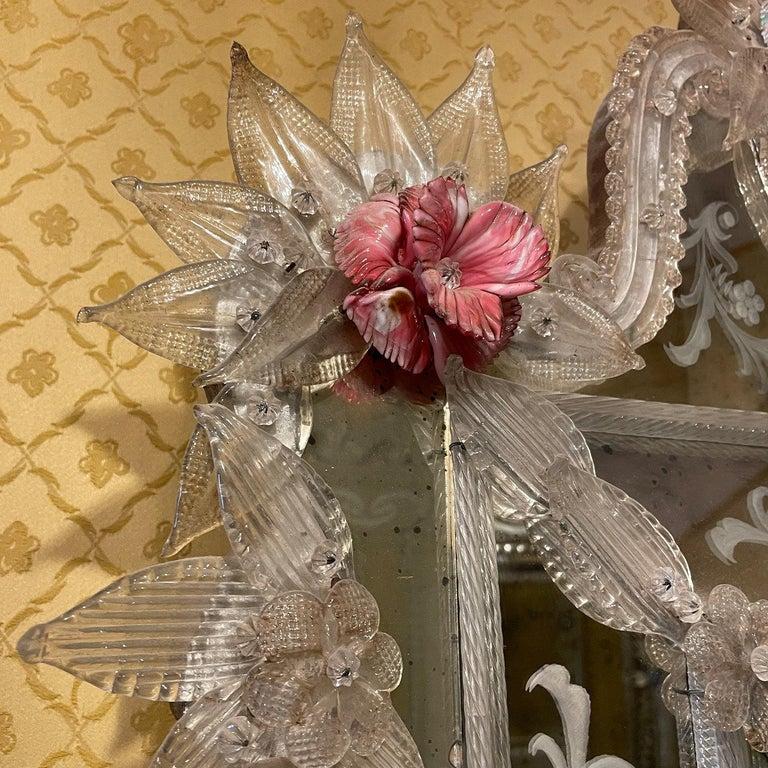 Contemporary Veronese Murano Glass Mirror For Sale