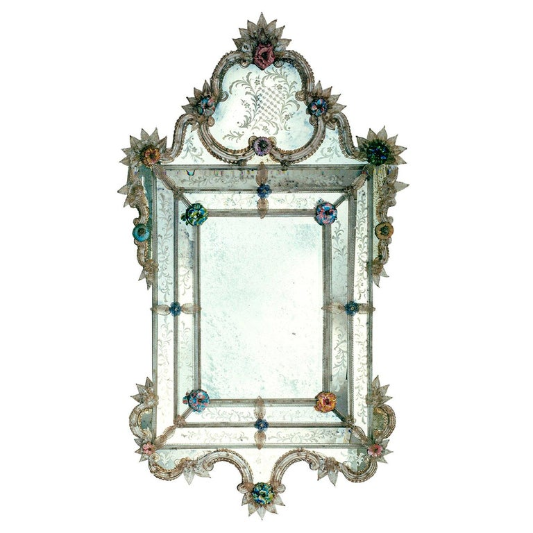 Veronese Murano Glass Mirror For Sale