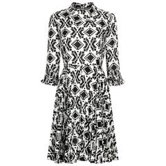 Veronica at Rembrandt Vintage 1960s Geometric Print Monochrome Dress