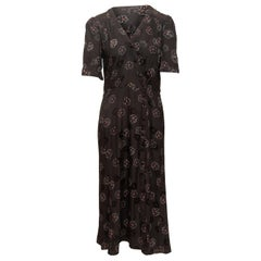 Veronica Beard Black & Multicolor Silk Floral Print Dress
