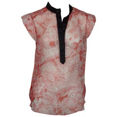 Veronica Beard Red & White Silk Print Top - Small