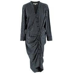 Veronica Beard Ruched striped cotton-poplin dress 12