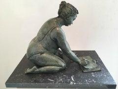 L ' Esquisse Bronze Sculpture of Writing Woman in Bathingsuit Green In Stock
