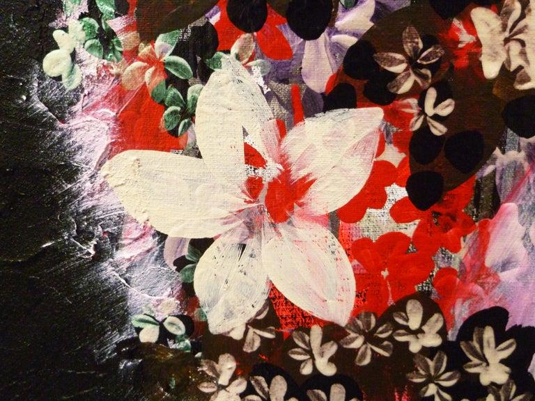 Gratitude Mandala 25 -contemporary black mandala mixed media acrylic on canvas - Contemporary Painting by Veronique Maria