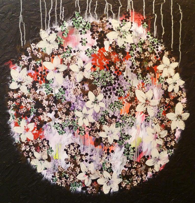 Veronique Maria Abstract Painting - Gratitude Mandala 25 -contemporary black mandala mixed media acrylic on canvas