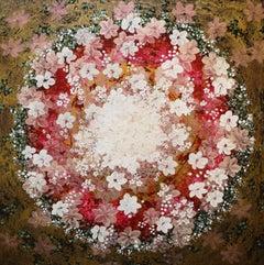 Gratitude Mandala 26 -contemporary red mandala mixed media acrylic on canvas
