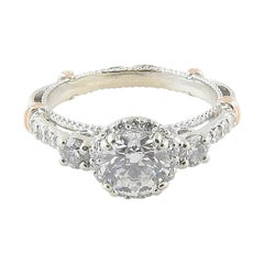 Verragio 14K White and Rose Gold Engagement Ring .92carat Center GIA Certified