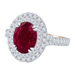 Verragio 2.62 Carat Oval Cut Ruby GIA and Double Diamond Halo Engagement Ring