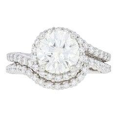 Verragio 2.96 Carat Diamond Ring and Wedding Band Platinum GIA Very Good