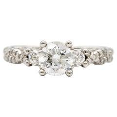 Verragio Engagement Ring with 1.01 Carat Round Brilliant Centre in Platinum