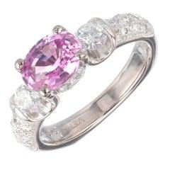 Verragio GIA Certified 1.60 Carat Pink Sapphire Diamond Gold Engagement Ring