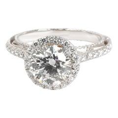 Verragio Halo Diamond Ring in 18 Karat 2-Tone Gold GIA I SI1 2.1 Carat