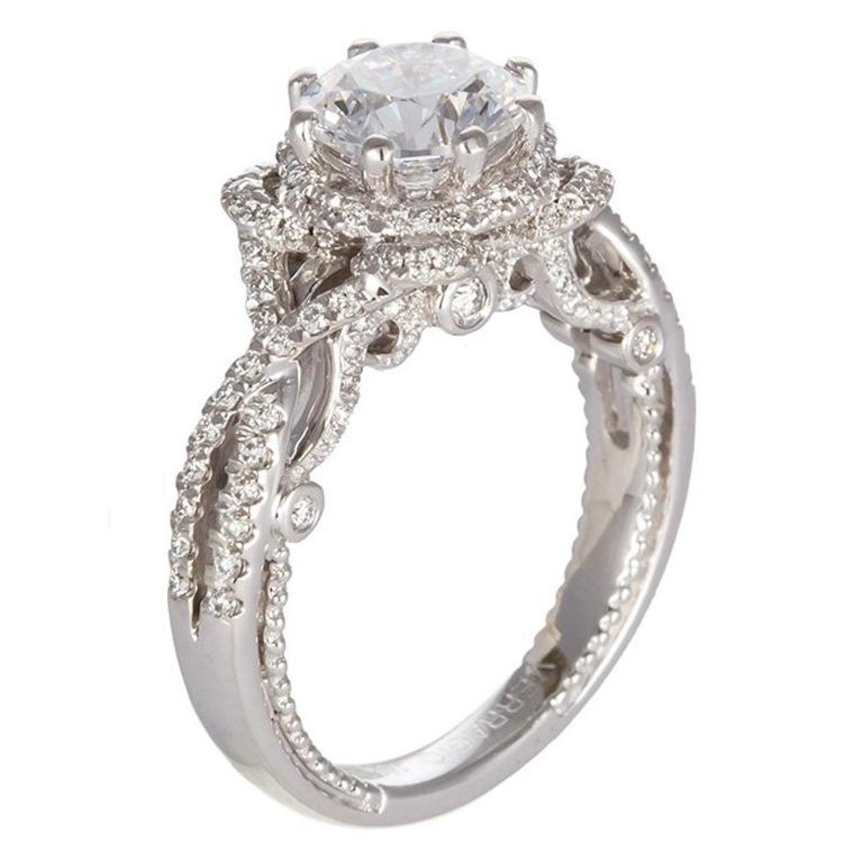 Verragio Insignia-7087R 18 Karat White Gold and Diamond Petal Engagement Ring at 1stdibs