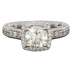 Verragio Paradiso Colorless Moissanite and Diamond Halo Engagement Ring