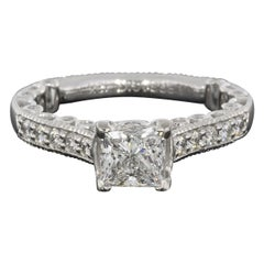 Verragio Paradiso White Gold GIA Certified Princess Diamond Engagement Ring
