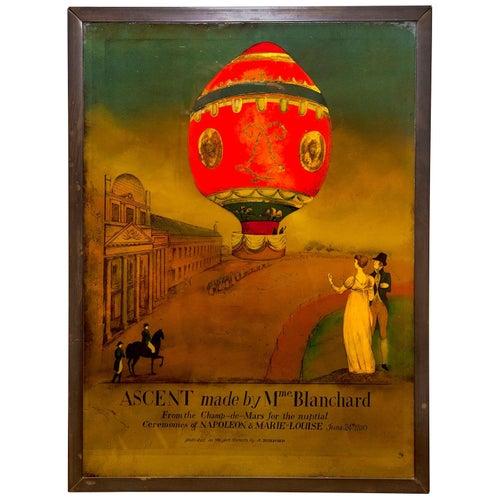Verre Églomisé Balloon Madame Blanchard Champ-de-mars Napoleon Marie Louise 1810