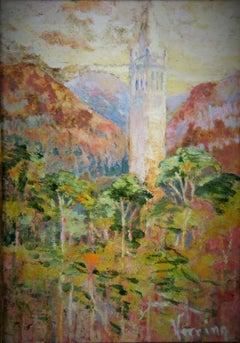 Impressionist Landscape Acrylic Painting Village Belltower
