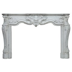 Verry Special Louis XV Carrrara White Marble Antique Fireplace