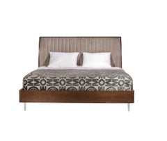 Versa Bed, Solid Walnut Wood Bed Frame With Upholstered Headboard.