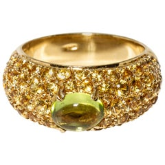 Versace 18 Karat Gold Yellow Gemstone Peridot Ring