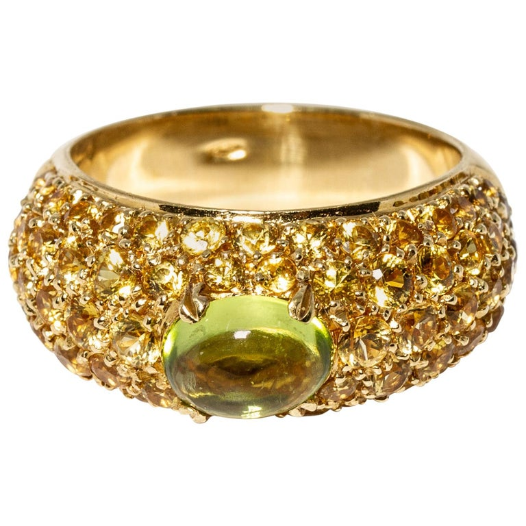 Versace 18 Karat Gold Yellow Gemstone Peridot Ring For Sale