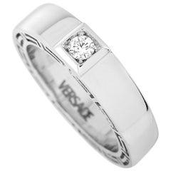 Versace 18 Karat White Gold 0.15 Carat Diamond Band Ring