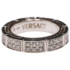 Versace 18 Karat White Gold 1.0 Carat Round Diamond Full Eternity Band Ring