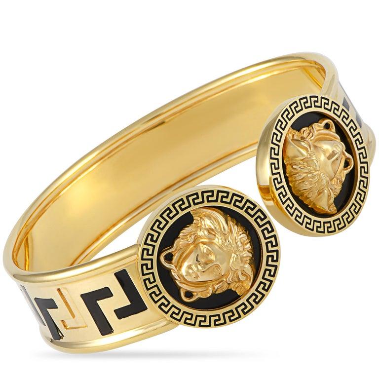 Women's Versace 18 Karat Yellow Gold and Black Enamel Medusa Bracelet For Sale