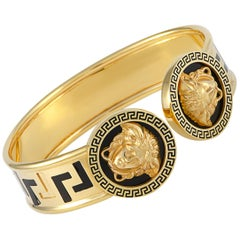 Versace 18 Karat Yellow Gold and Black Enamel Medusa Bracelet