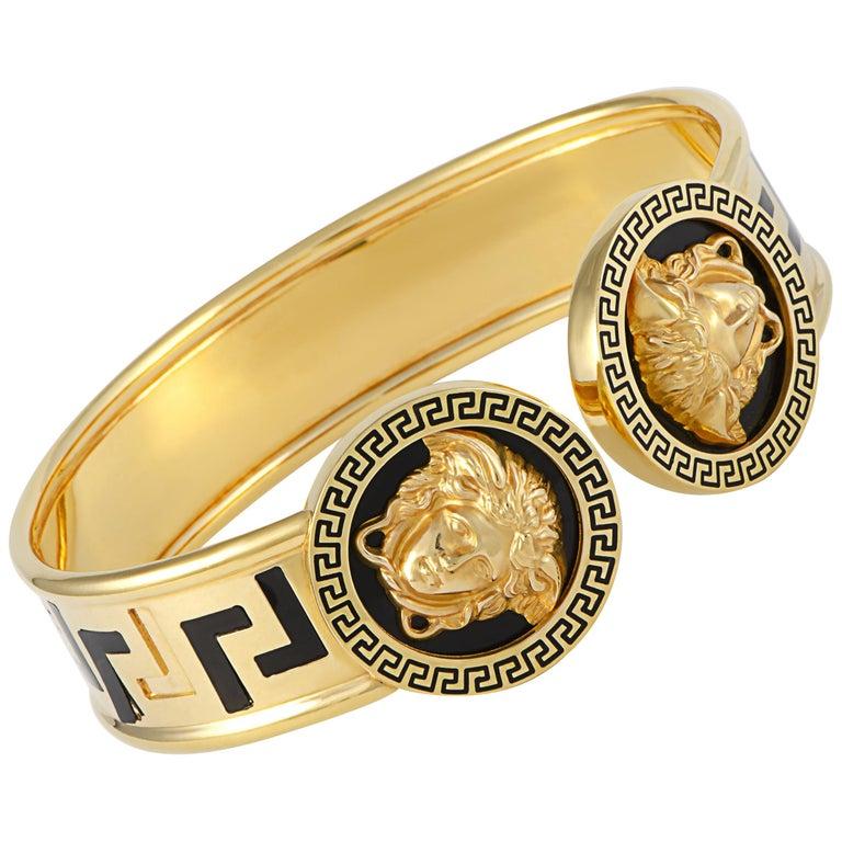 Versace 18 Karat Yellow Gold and Black Enamel Medusa Bracelet For Sale