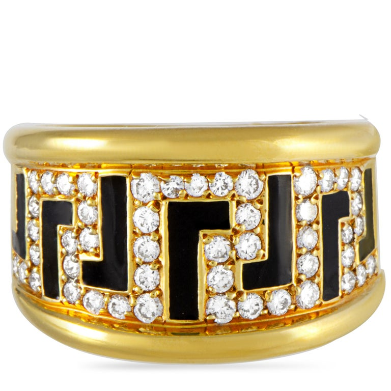 Women's Versace 18 Karat Yellow Gold and Enamel 0.75 Carat Diamond Ring For Sale