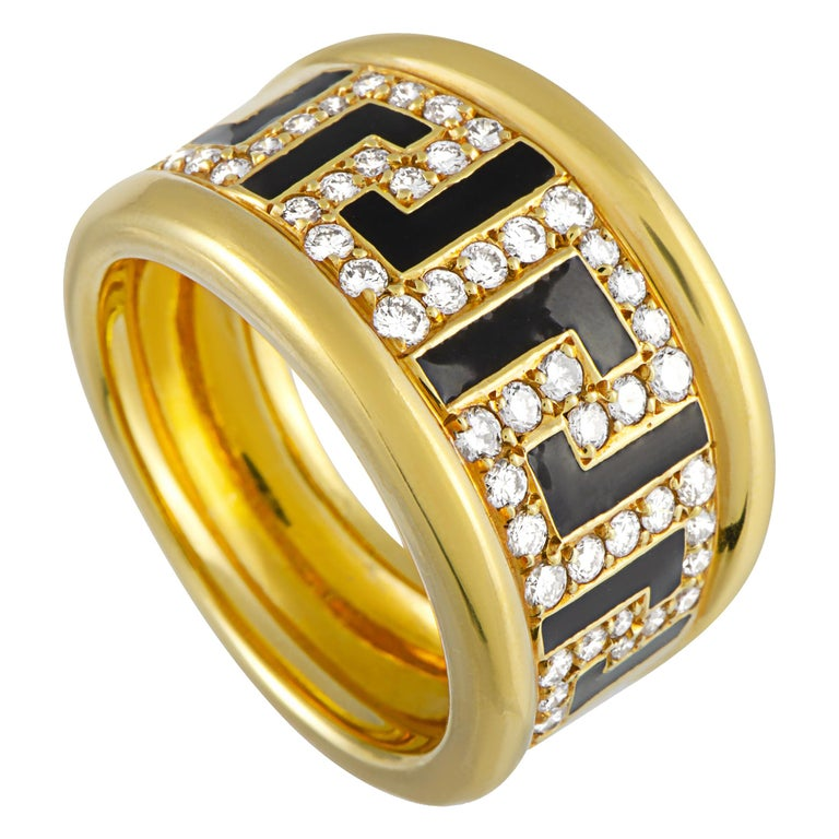 Versace 18 Karat Yellow Gold and Enamel 0.75 Carat Diamond Ring For Sale