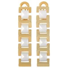 Versace 18 Karat Yellow Gold White Ceramic Earrings