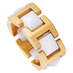 Versace 18 Karat Yellow Gold White Ceramic Ring