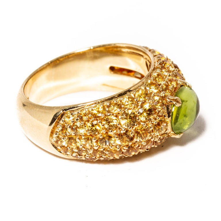 Cabochon Versace 18 Karat Gold Yellow Gemstone Peridot Ring For Sale