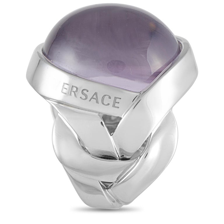 Versace 18 Karat White Gold and Amethyst Ring In Excellent Condition For Sale In Southhampton, PA