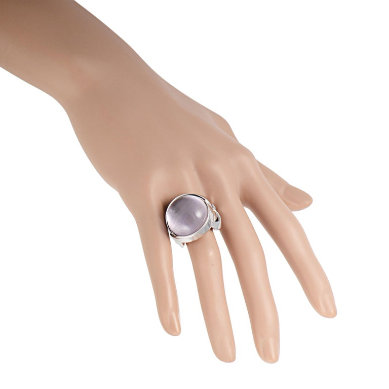 Women's Versace 18 Karat White Gold and Amethyst Ring For Sale