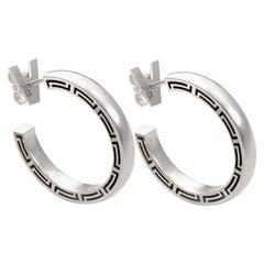 Versace 18 Karat White Gold Greco Motif Hoop Earrings