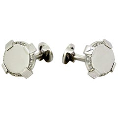 Versace 18 Karat White Gold Men's Cufflinks with Diamonds, Italy, 2010