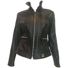 Versace 1990's Black Lizard Embossed Leather Jacket