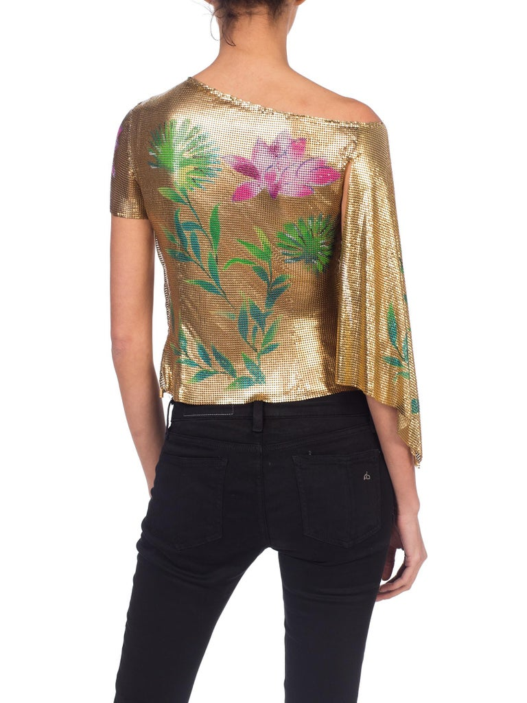 Brown Versace 2000 JLo Collection Tropical Gold Metal Mesh Top For Sale
