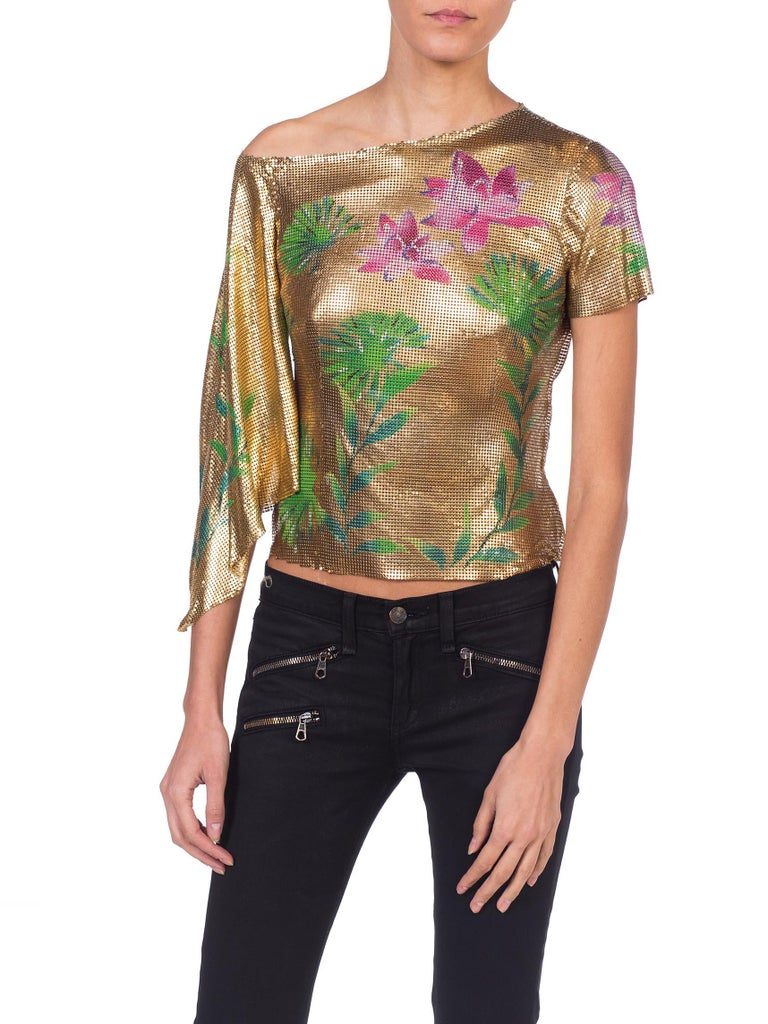Versace 2000 JLo Collection Tropical Gold Metal Mesh Top In Good Condition For Sale In New York, NY