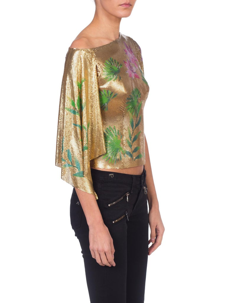 Women's Versace 2000 JLo Collection Tropical Gold Metal Mesh Top For Sale