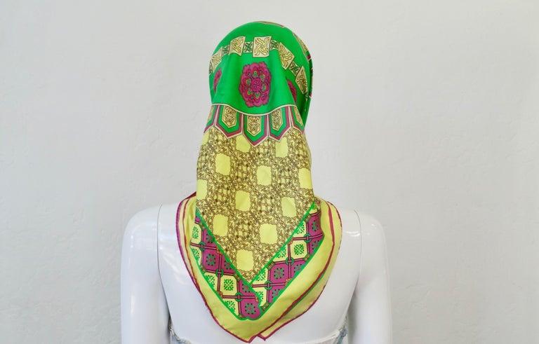 Brown Versace 2000s Neon Medusa Silk Scarf  For Sale