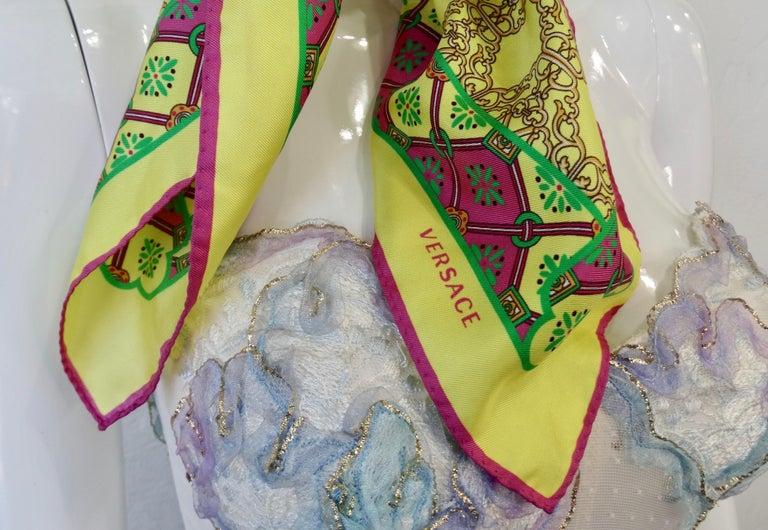 Versace 2000s Neon Medusa Silk Scarf  In Good Condition For Sale In Scottsdale, AZ