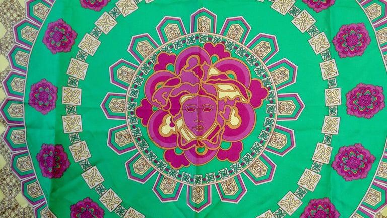 Women's or Men's Versace 2000s Neon Medusa Silk Scarf  For Sale